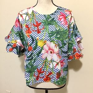 Tropical Floral Ruffle Bell Sleeved Blouse Top